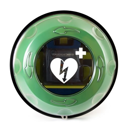 The Rotaid Plus defibrillator cabinet has a circular vision panel
