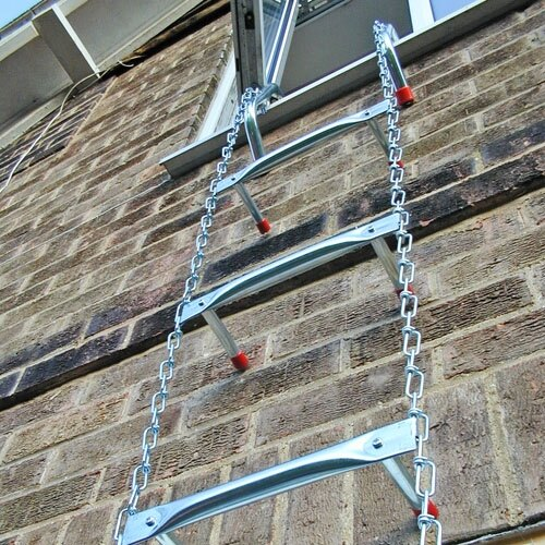 Deployed fire escape ladder