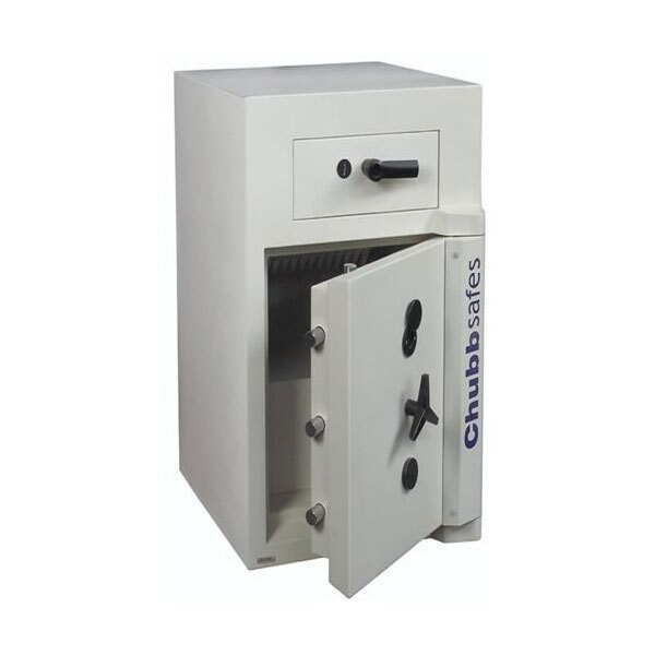 Deposit drawer and main door are locked separately for extra security