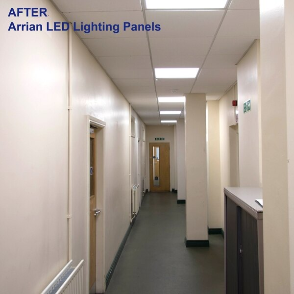AFTER: the same corridor refit with Arrian LED lighting