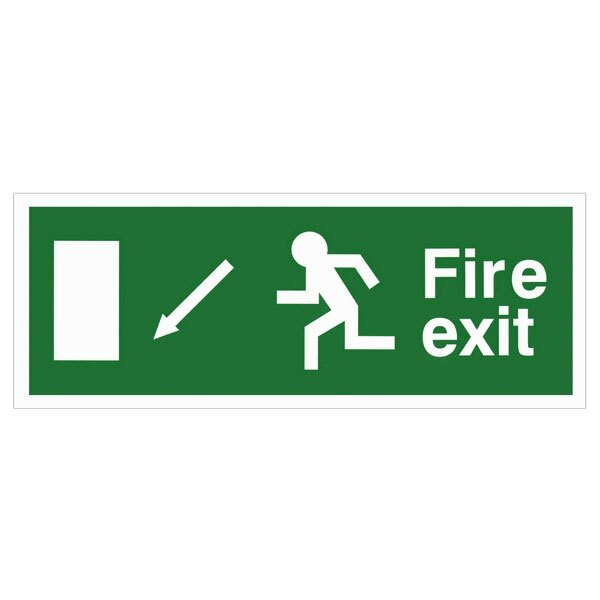 Self-Adhesive EEC Directive Fire Exit Sign - arrow down/left