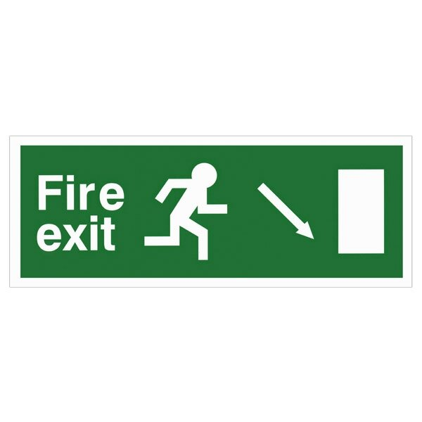 Self-Adhesive EEC Directive Fire Exit Sign - arrow down/right