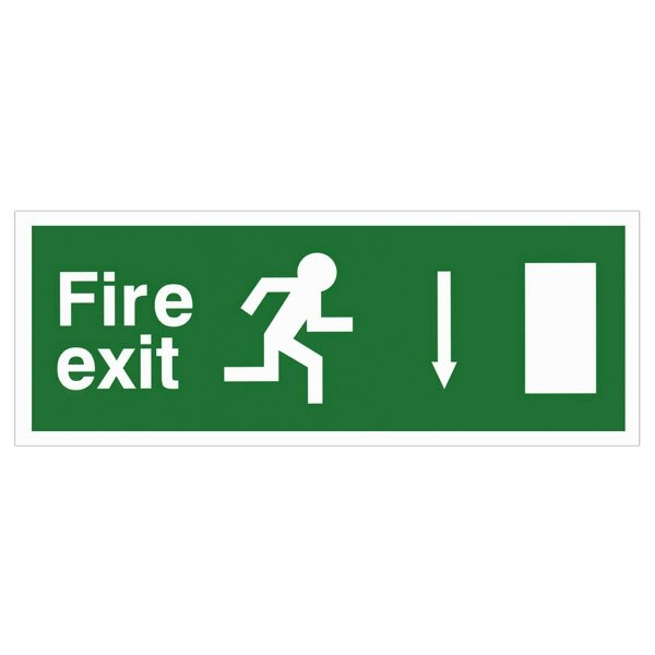 Self-Adhesive EEC Directive Fire Exit Sign - arrow down
