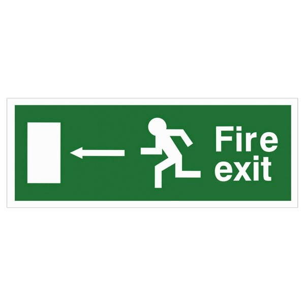 Self-Adhesive EEC Directive Fire Exit Sign - arrow left