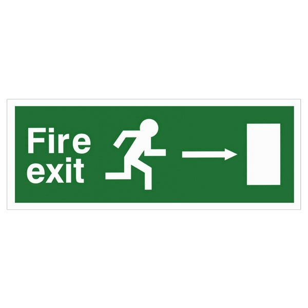 Self-Adhesive EEC Directive Fire Exit Sign - arrow right