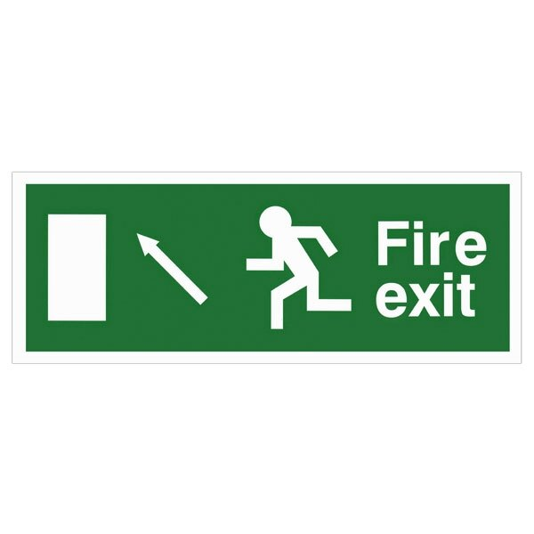 Self-Adhesive EEC Directive Fire Exit Sign - arrow up/left