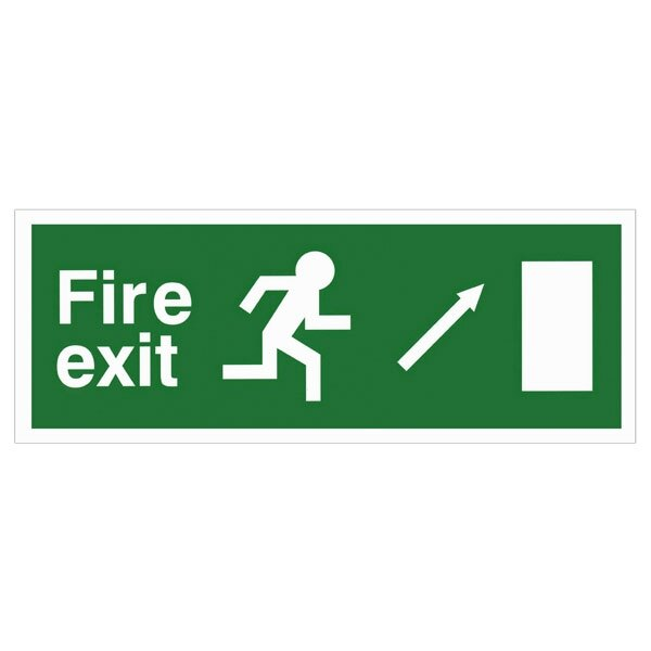 Self-Adhesive EEC Directive Fire Exit Sign - arrow up/right