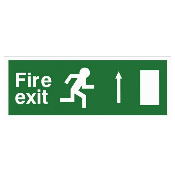 Self-Adhesive EEC Directive Fire Exit Sign - arrow up