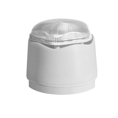 White Banshee Excel Lite Sounder with LED Beacon - Clear Lens, Standard Base