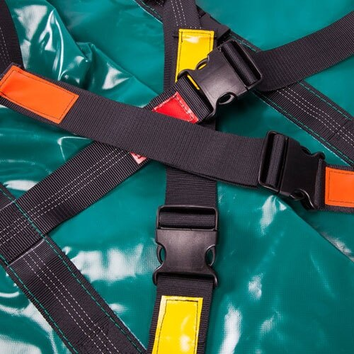 Colour coded cross straps help to securely cocoon the individual.