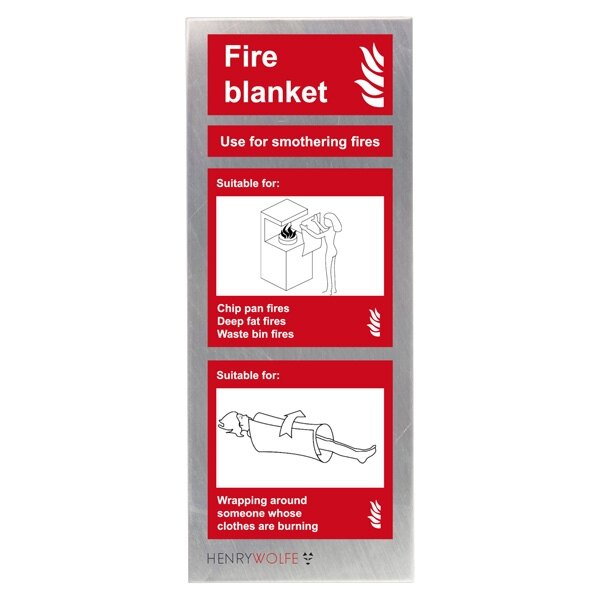 Stainless Steel Fire Blanket ID Sign