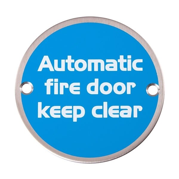 Metal Fire Door Signs - Automatic Fire Door Keep Clear