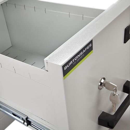 The Burton FF100MK/II filing cabinet is fitted with a high security key lock as standard