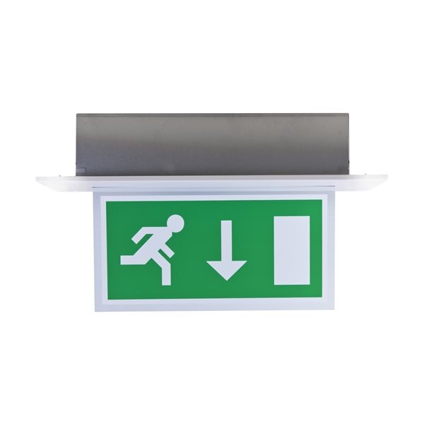 Edge-lit exit sign with 32 metre viewing distance