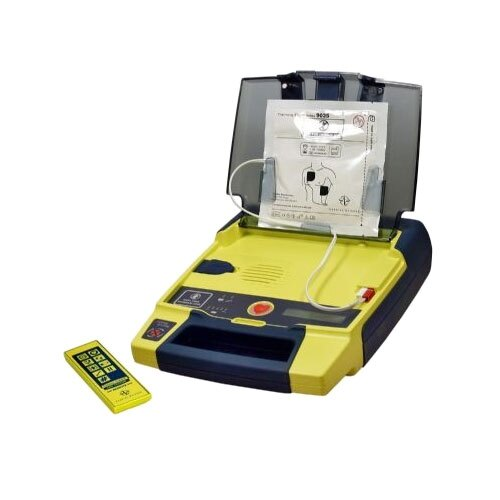 The trainer is supplied with adult trainer electrode pads and a remote control