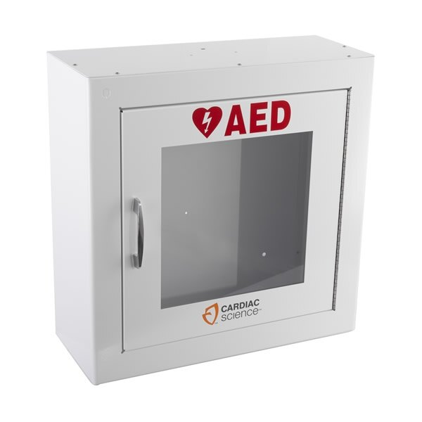 Clear vision panel allows the defibrillator to be easily identified