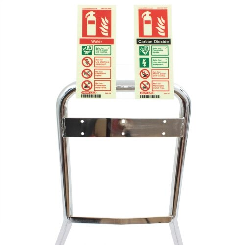 Double configuration to hold two vertical fire extinguisher ID signs