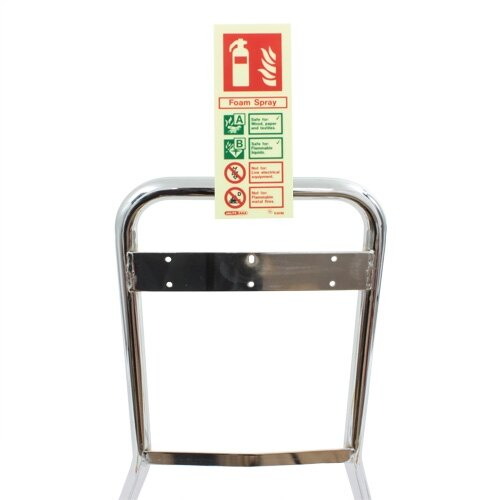 Single configuration to hold one vertical fire extinguisher ID sign