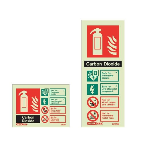CO2 Fire extinguisher ID wall signs