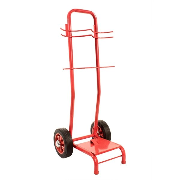 Double extinguisher trolley without rotary hand bell