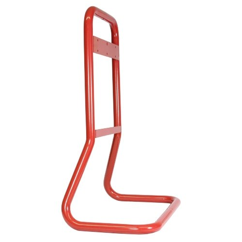 Red double fire extinguisher stand profile view