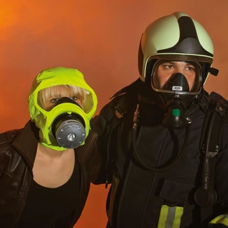 Protects against fire-related toxic gases and particles