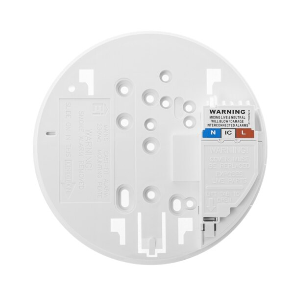 The optical smoke alarm is supplied with an Easi-fit base plate