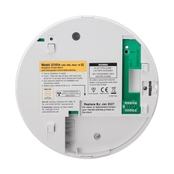 The ionisation smoke alarm is fitted with a sealed lithium back-up battery