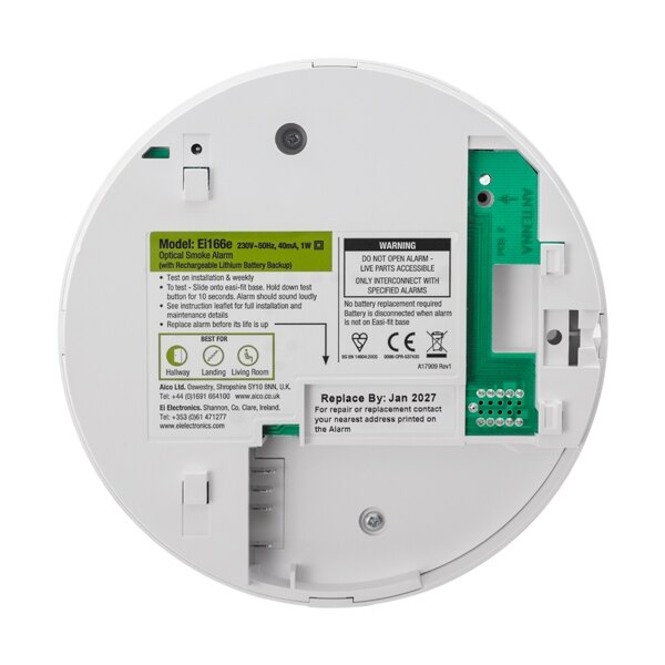 The optical smoke alarm is fitted with a sealed lithium back-up battery