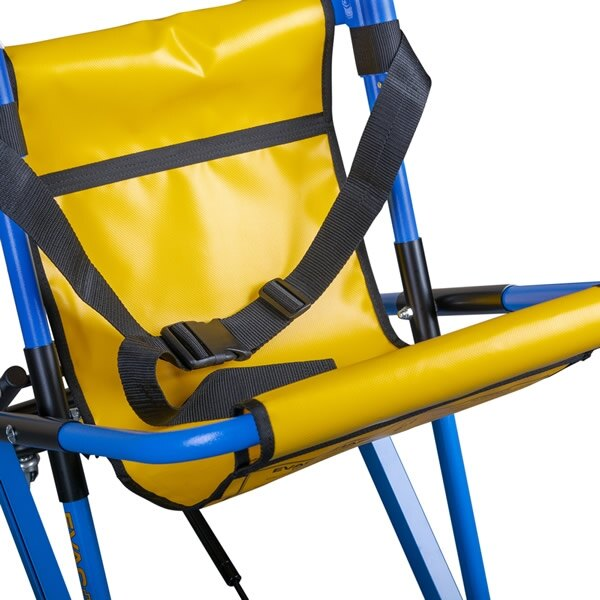 Padded material covers the chair's leg and back bars for user comfort