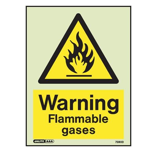 """Warning, flammable gases"" sign"