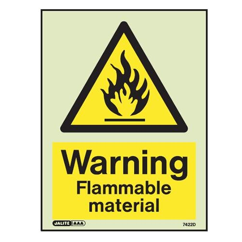 """Warning, flammable material"" sign"
