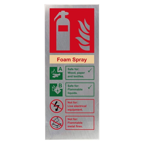 Stainless Steel Foam Fire Extinguisher ID Sign