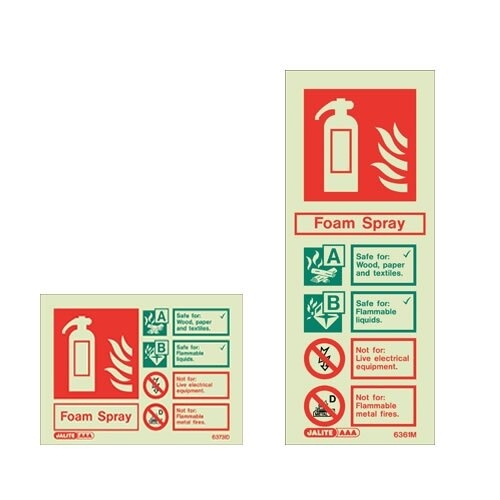 Foam Fire extinguisher ID wall signs