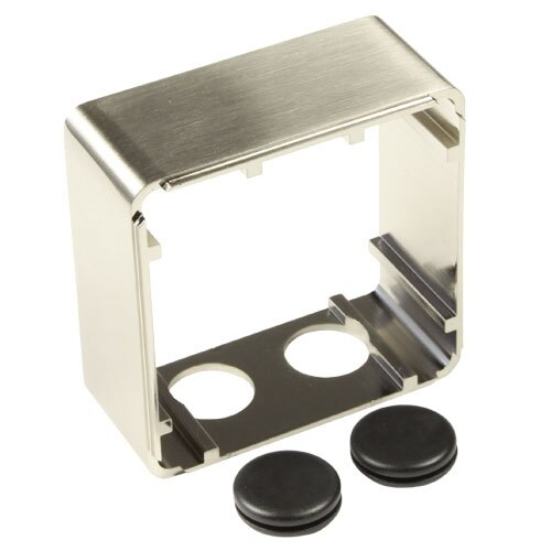 Surface mounting kit for decroative door holder shown in stainless steel