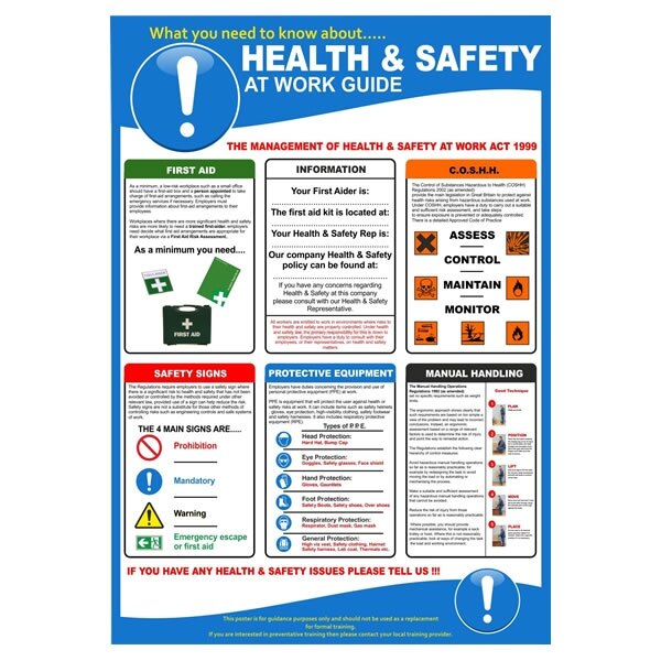 health and safety at work poster 1631279 ex vat