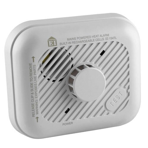 Mains Powered Heat Alarm with Lithium Back-up Battery - Ei154