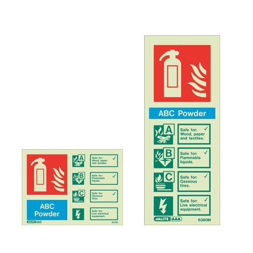 Powder Fire extinguisher ID wall signs
