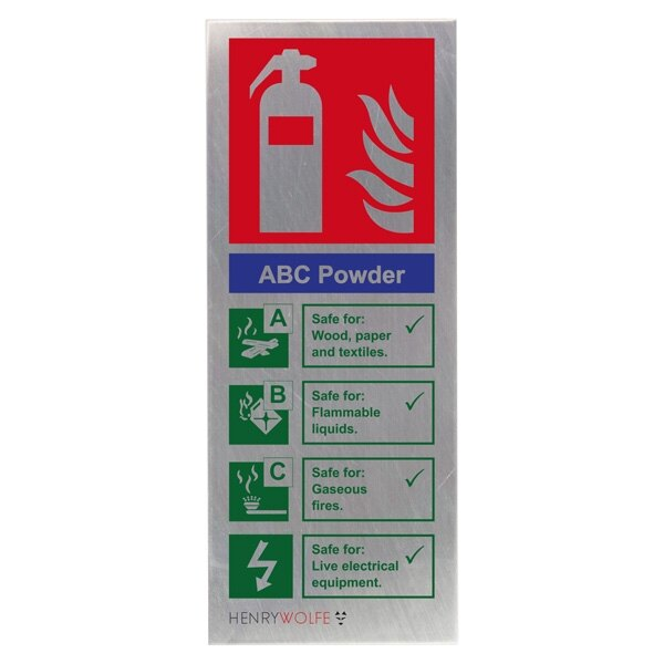 Stainless Steel Powder Fire Extinguisher ID Sign