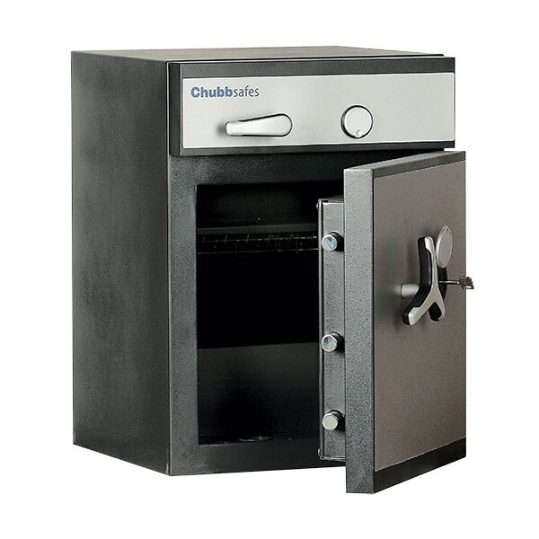 The deposit safe is secured with high security key locks