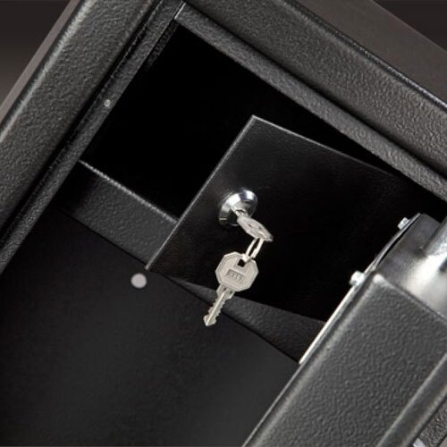 Internal locking ammo storage box located at the top of the safe