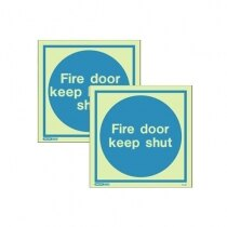 Image of the Photoluminescent Fire Door Signs - Rigid Plastic 150x150mm