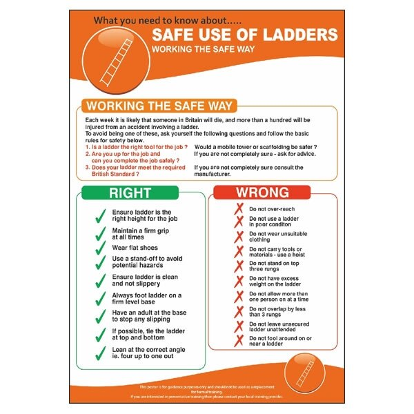 step ladder risk assessment template - safe use of ladders poster