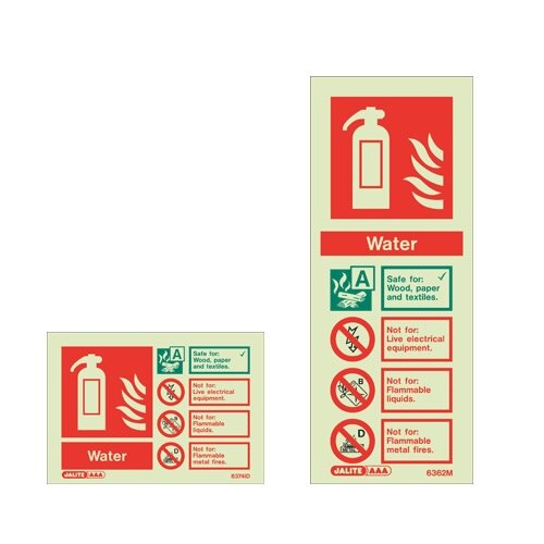 Water Fire extinguisher ID wall signs
