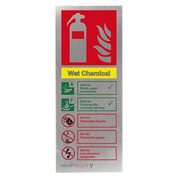 Stainless Steel Wet Chemical Fire Extinguisher ID Sign