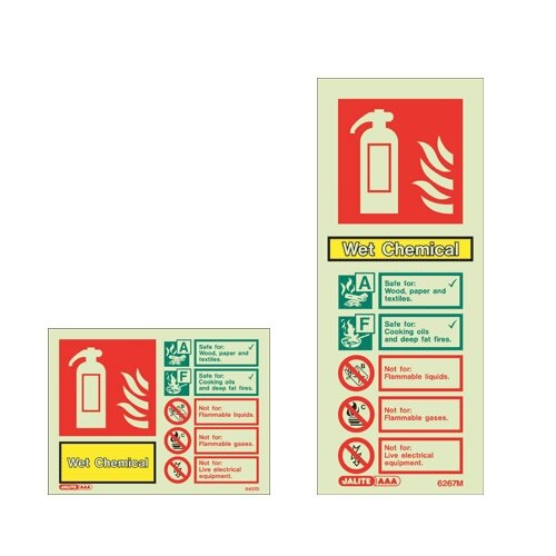 Wet Chemical Fire extinguisher ID wall signs