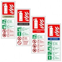 Image of the White Rigid Plastic Extinguisher ID Signs