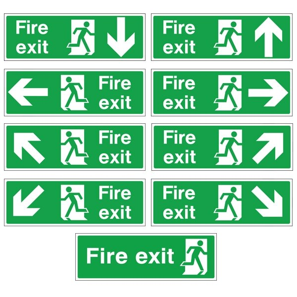 White Rigid Plastic Self Adhesive Fire Exit Signs