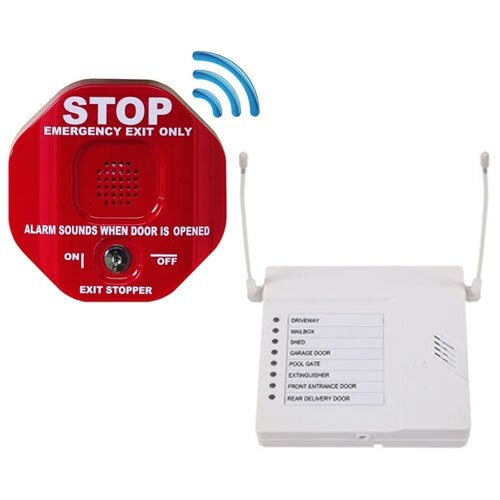 Wireless Exit Stopper Door Alarm And 8 Channel Receiver Pack
