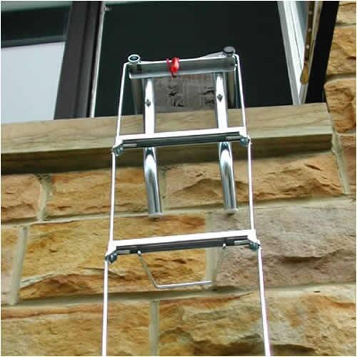 Deployed X-It fire escape ladder